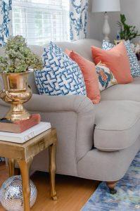 Blue and Orange Pillows On Sofa Fall Home Tour