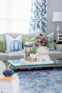 Blue and White Fall Living Room