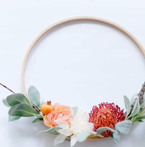 Easy DIY Fall Embroidery Hoop Wreath {video}