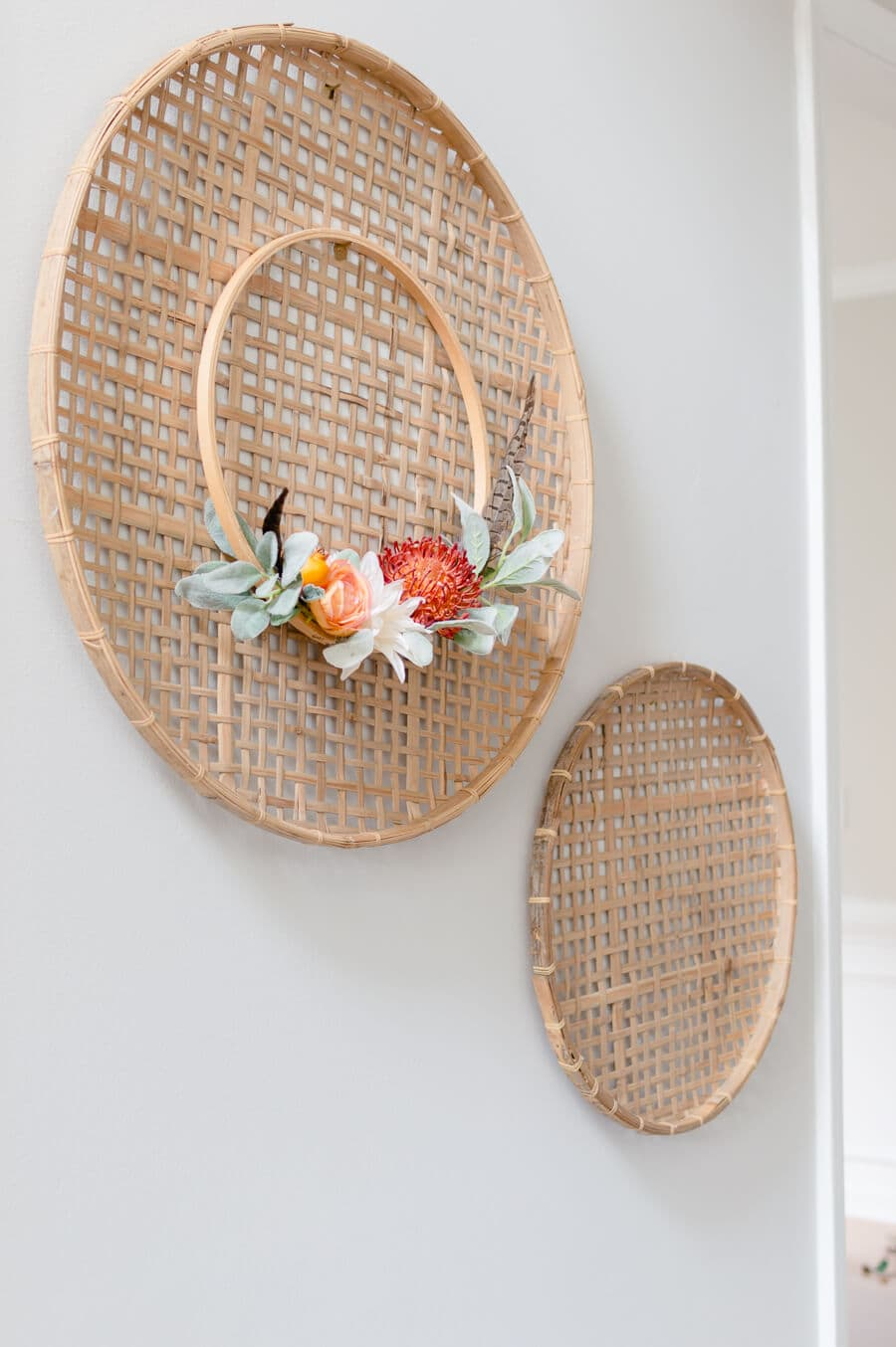 Fall Embroidery Hoop Wreath Basket