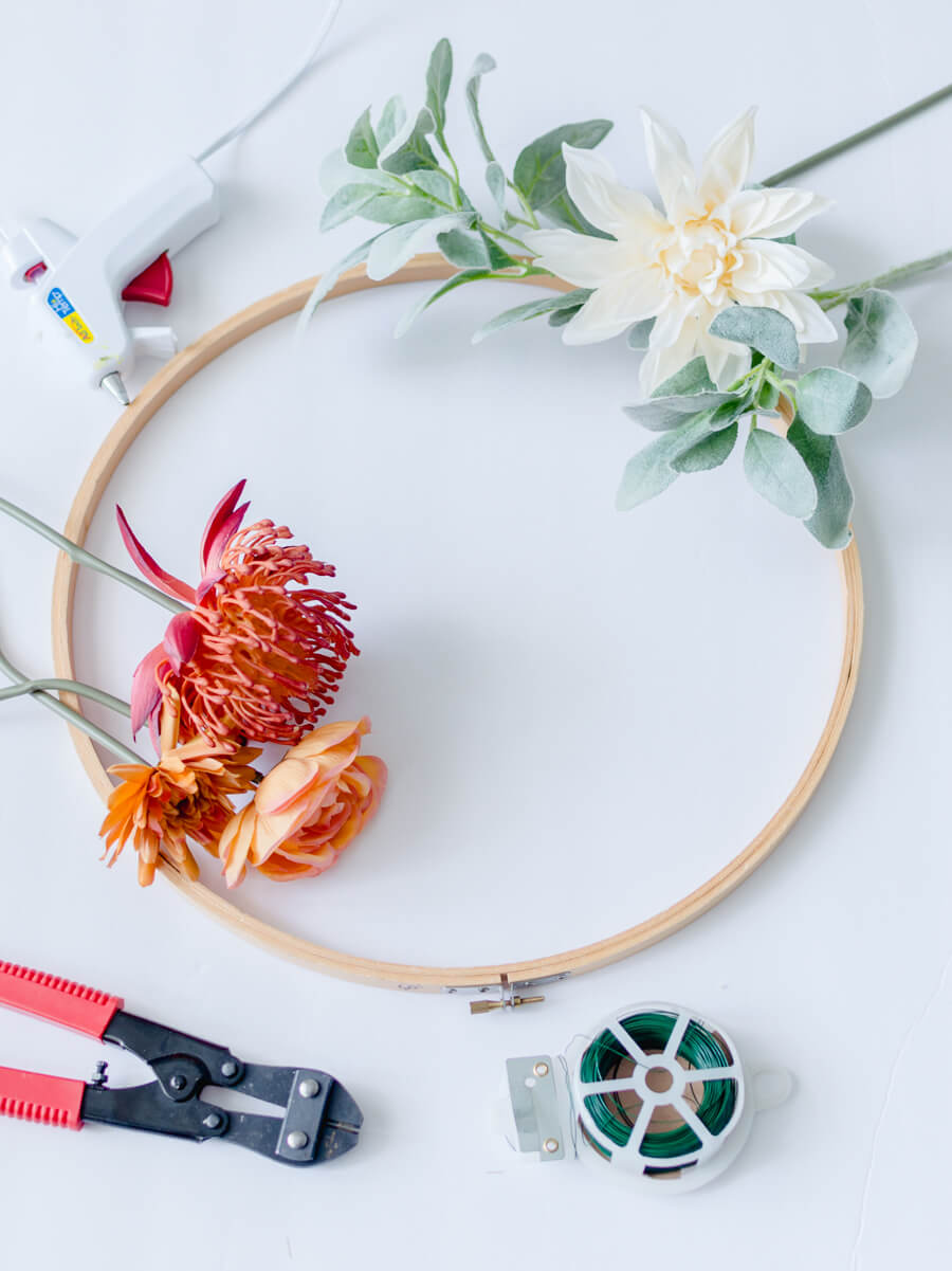 Fall Embroidery Hoop Wreath Supplies