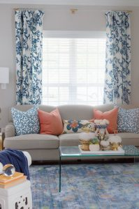 Fall Home Tour Blue and White Curtains With Lucite Rods.jpg