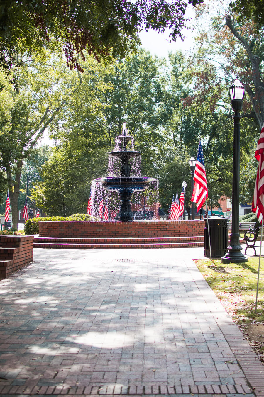 Marietta Square Fountain and Flags
