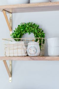 Open Shelves Styling Gold Basket