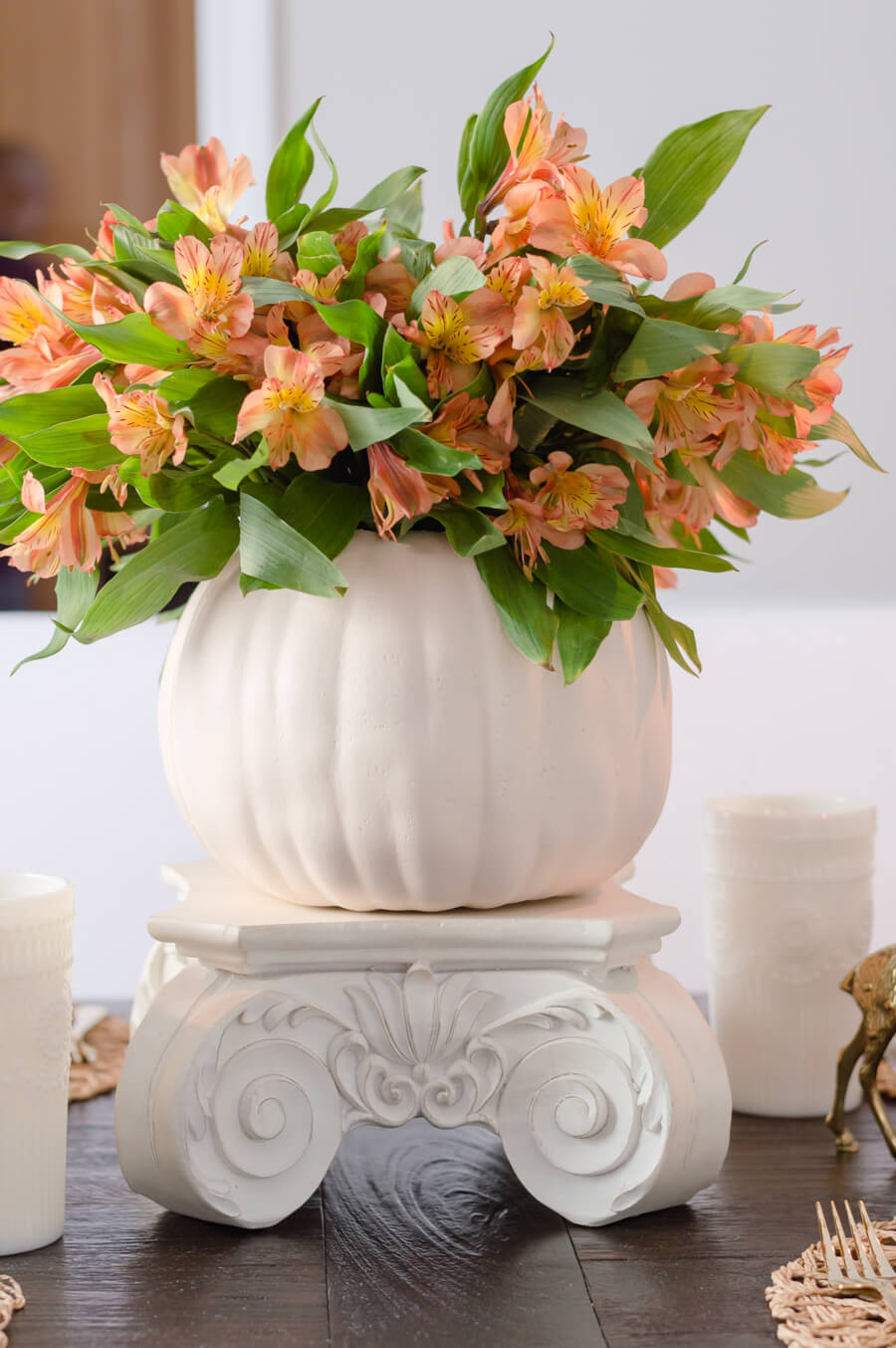 Orange flower fall centerpiece