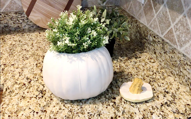 Pumpkin Vase with Ikea artificial plants