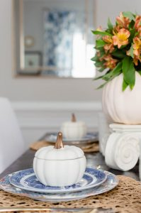 Blue and Orange Fall Tablescape Vintage white cup