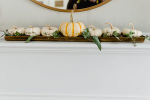 White Pumpkin Tray with Eucalyptus