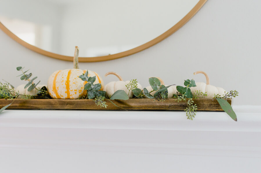 White Pumpkin Tray with Seeded Eucalyptus