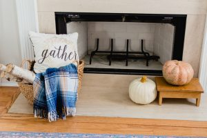 simple fall fireplace decor