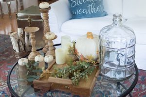 simple fall fireplace decor items