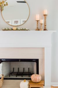 simple fall mantel with candles