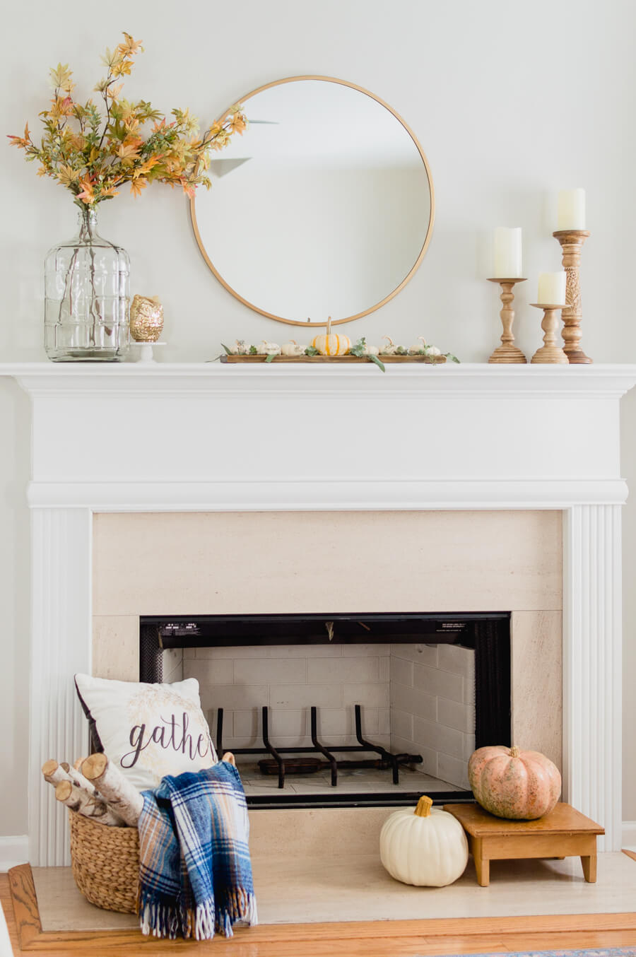 simple neutral fall fireplace