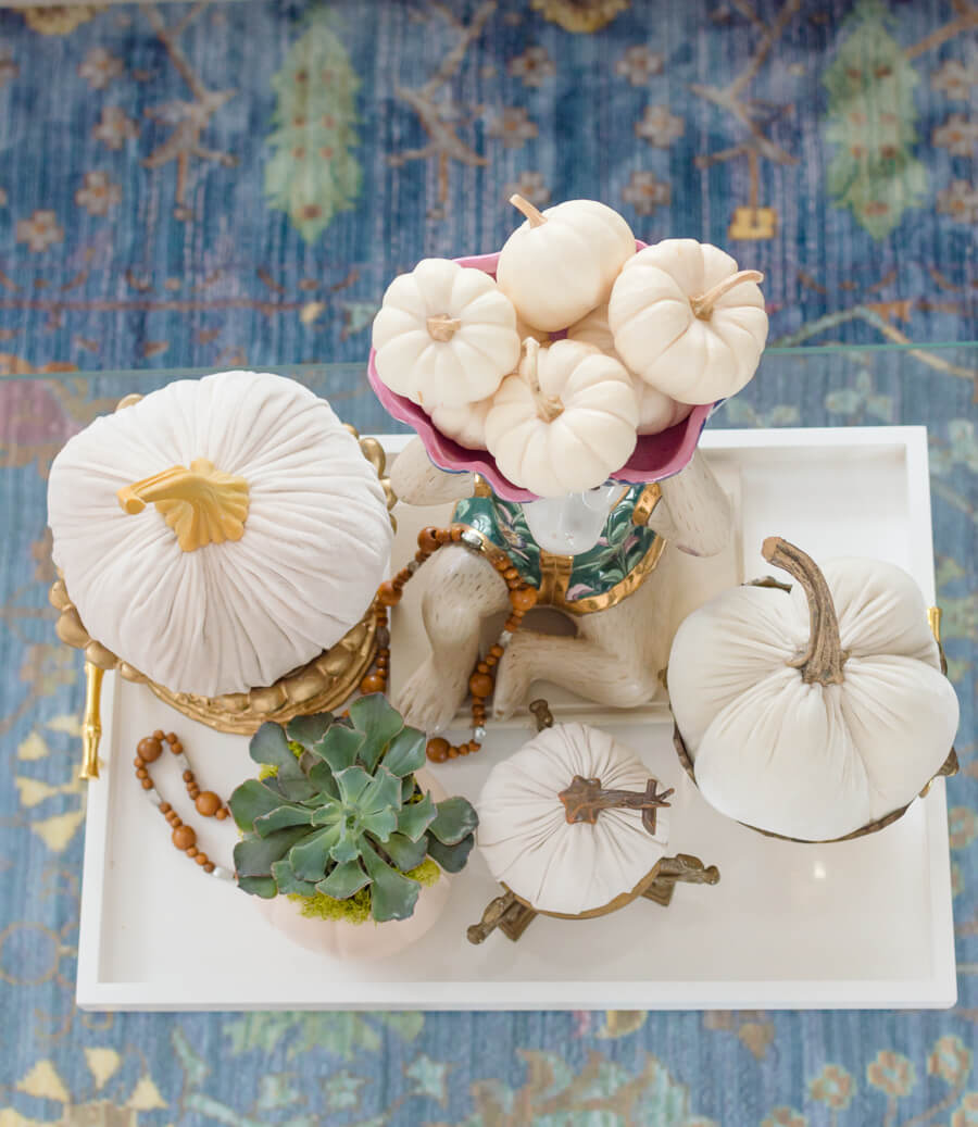 Velvet white pumpkin centerpiece