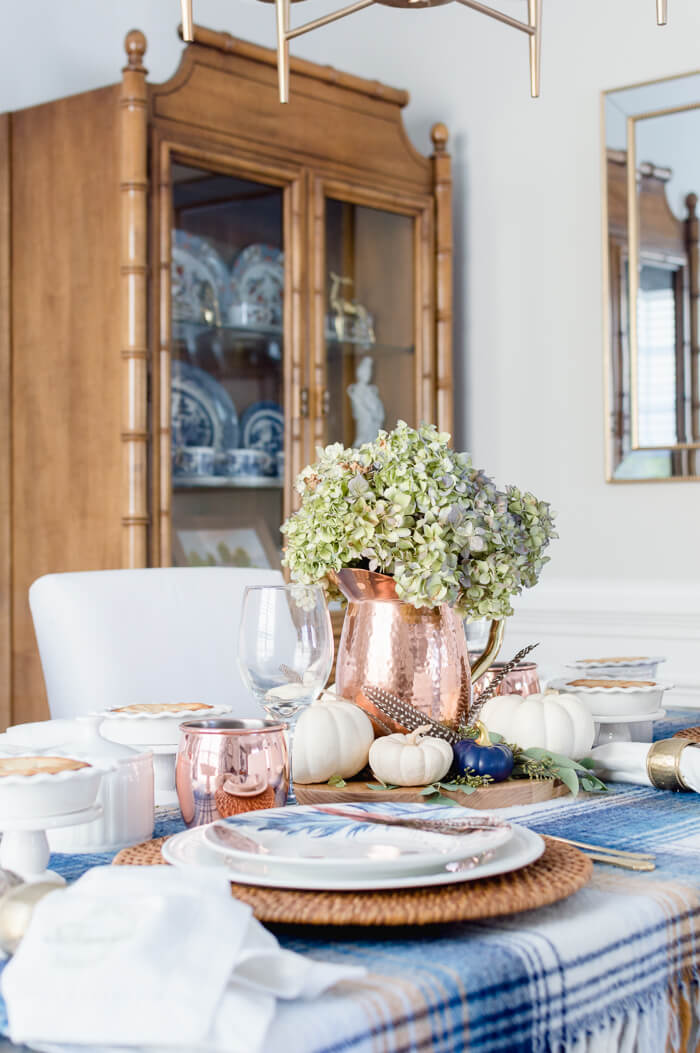 Blue And Copper Thanksgiving Centerpiece