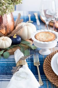 Blue And Copper Thanksgiving Table details