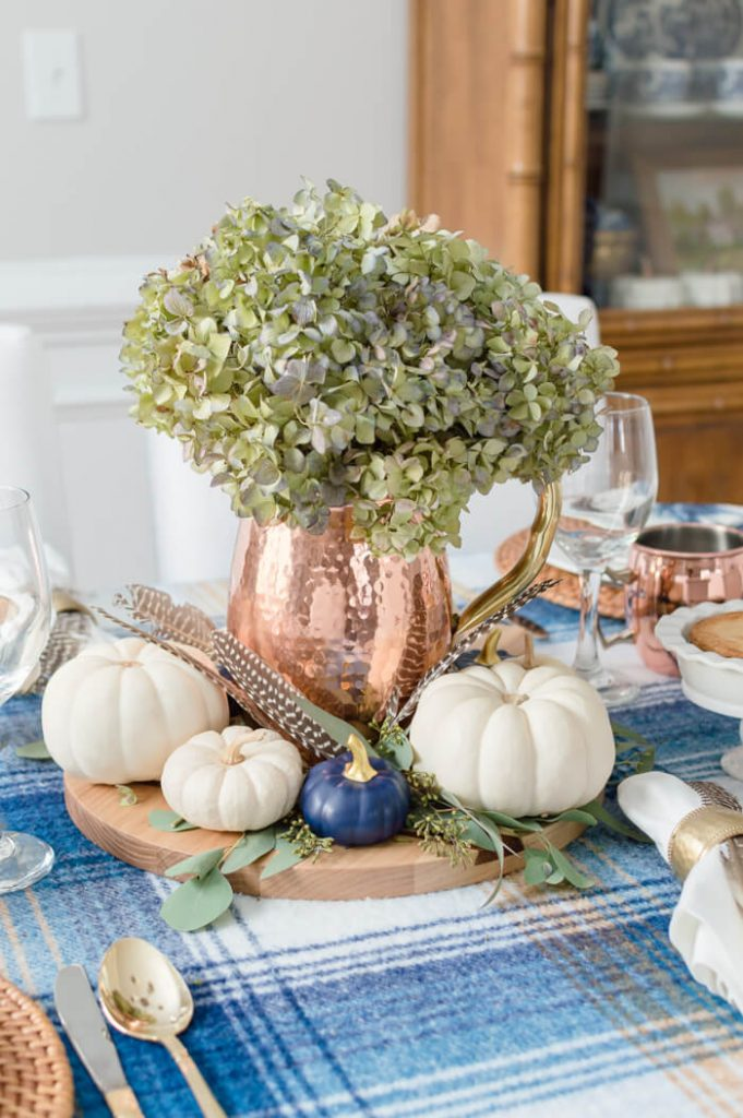 Blue And Copper Thanksgiving Tablescape Centerpiece