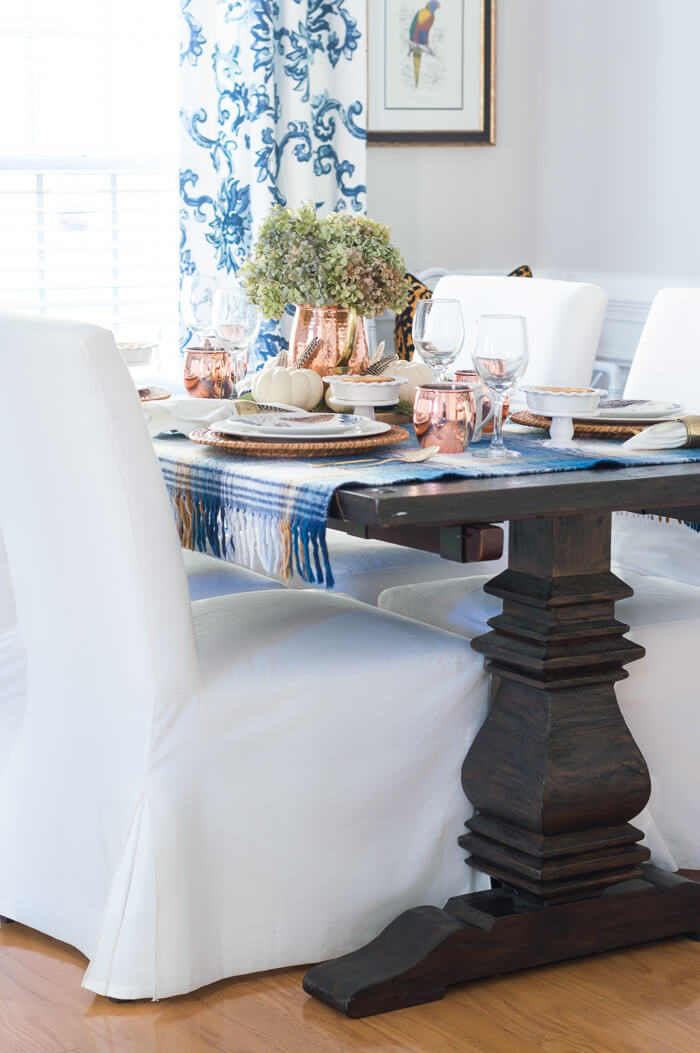 Blue and Copper Thanksgiving Table