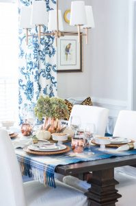 Blue and Copper Thanksgiving Tablescape