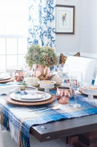 Copper and Feathers Thanksgiving Table