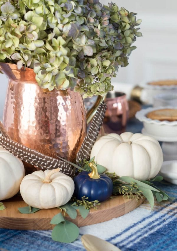 Blue And Copper Thanksgiving Table Idea {video}