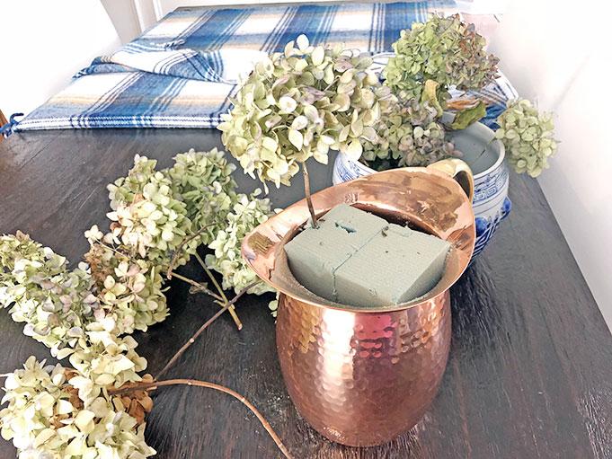 Floral Foam in Copper Pitcher