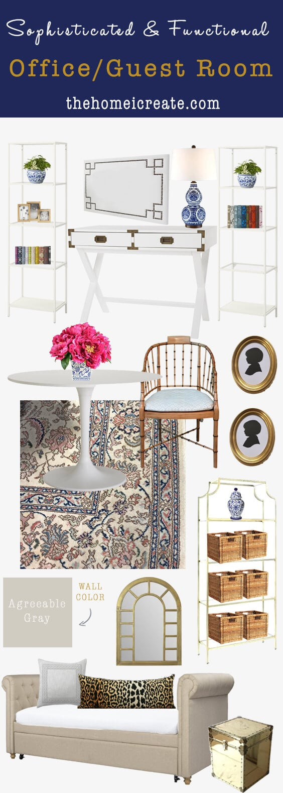 Sophisticated and Functional Office Guest bedroom combo mood board