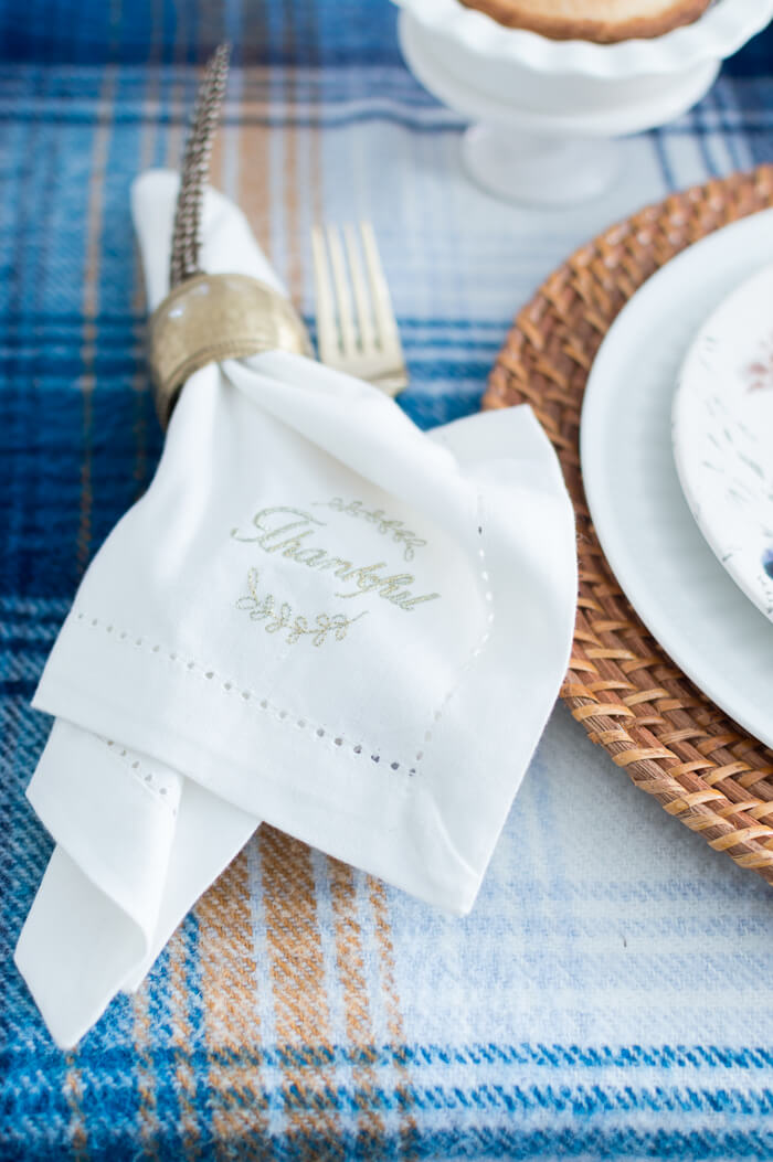Thankful Monogram Thanksgiving Table Napkins