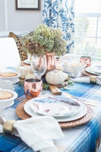 Thanksgiving Table with blue and copper