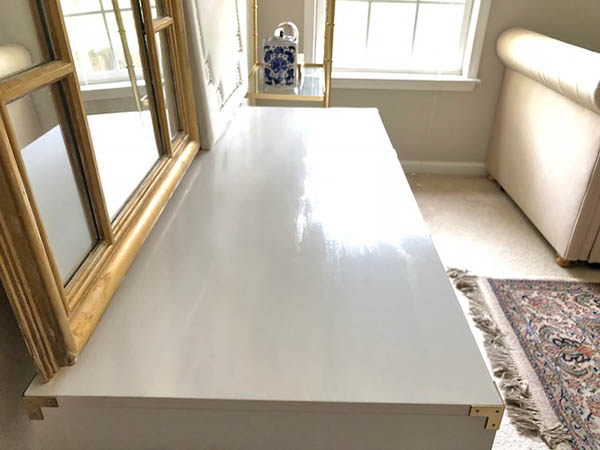 white desk with painted top