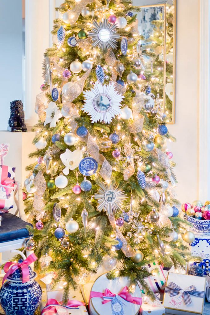Blue White and Pink Christmas Tree