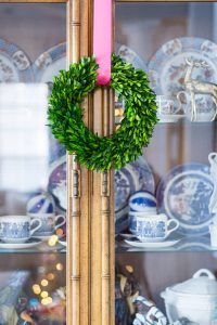 Blue and White Christmas Boxwood Wreath