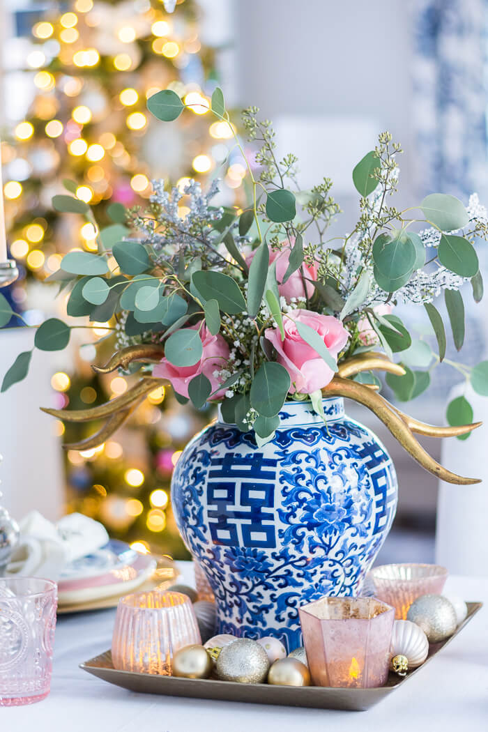 Blue and White Christmas Centerpiece