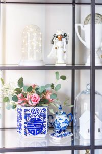 Blue and White Christmas Decor shelf