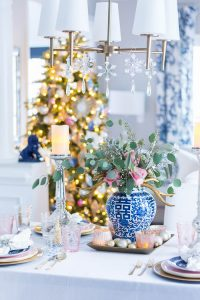 Blue and White Christmas Dining Room Decor
