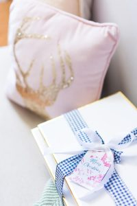 Blue and White Christmas Gingham Ribbon