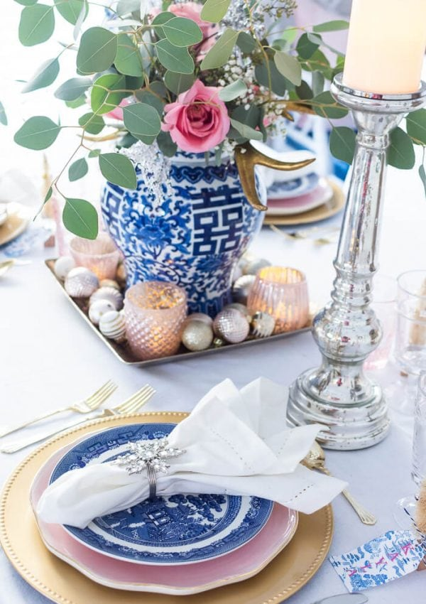 Blue and White Christmas Table With A Pop Of Pink