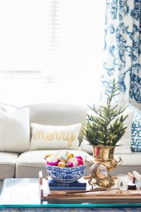 Blue and White Christmas coffee table decor