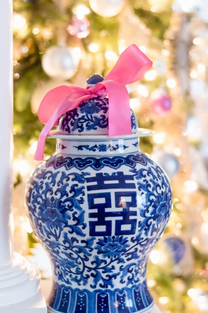 Blue and White Ginger Jar Pink Bow