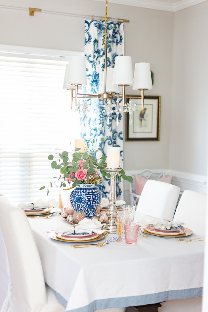 Blue and White with Pink Christmas Tablescape