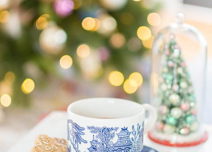 Blue and white willow tea cup