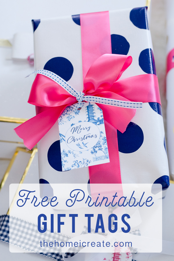 Preppy Free Printable Chinoiserie Gift Tags #thehomeicreate #gifttags #christmasgifts