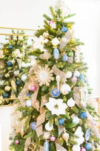 Colorful Blue and White Christmas Tree Decor