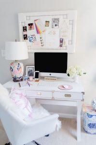 Feminine Home Office With White Desk