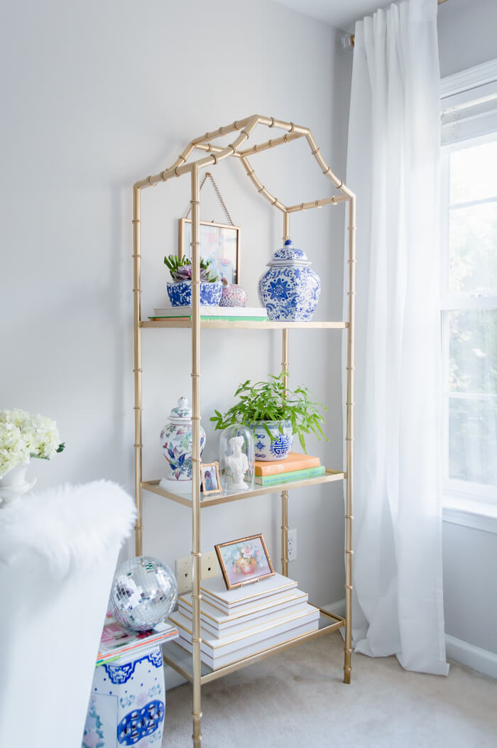 Gold shelf with blue and white