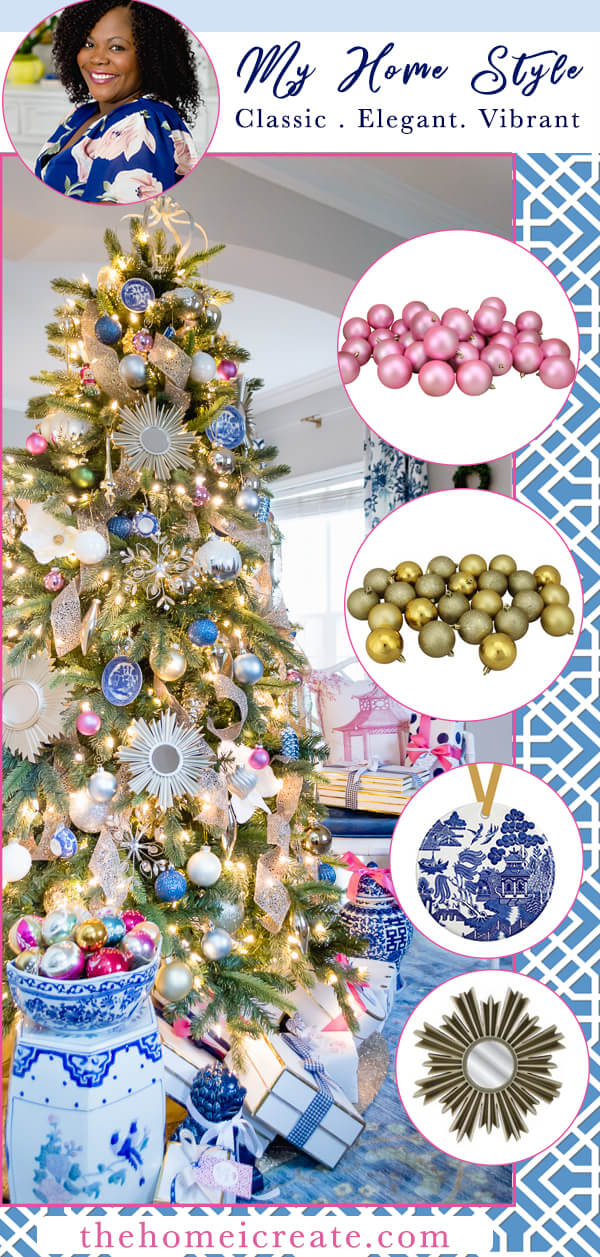 Blue and white Christmas tree with DIY Blue Willow ornaments for a Chinoiserie touch #thehomeicreate #blueandwhite #christmastreedecor #chinoiseriechristmas