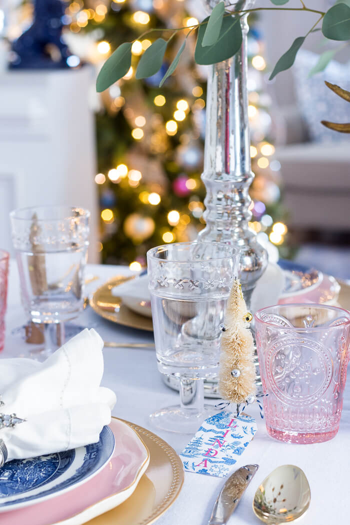 Pink and blue Christmas place setting