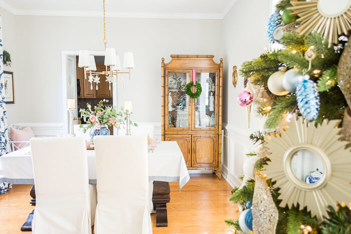Pink and blue Christmas dining room