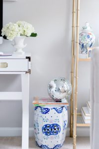 Small Blue and White Garden Stool