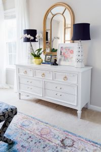 White Dresser With Gold Hardware